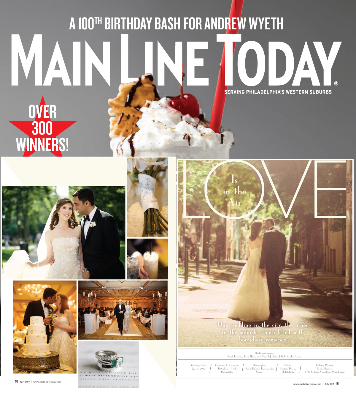 Main Line Today Magazine - Rittenhouse Hotel Wedding Feature